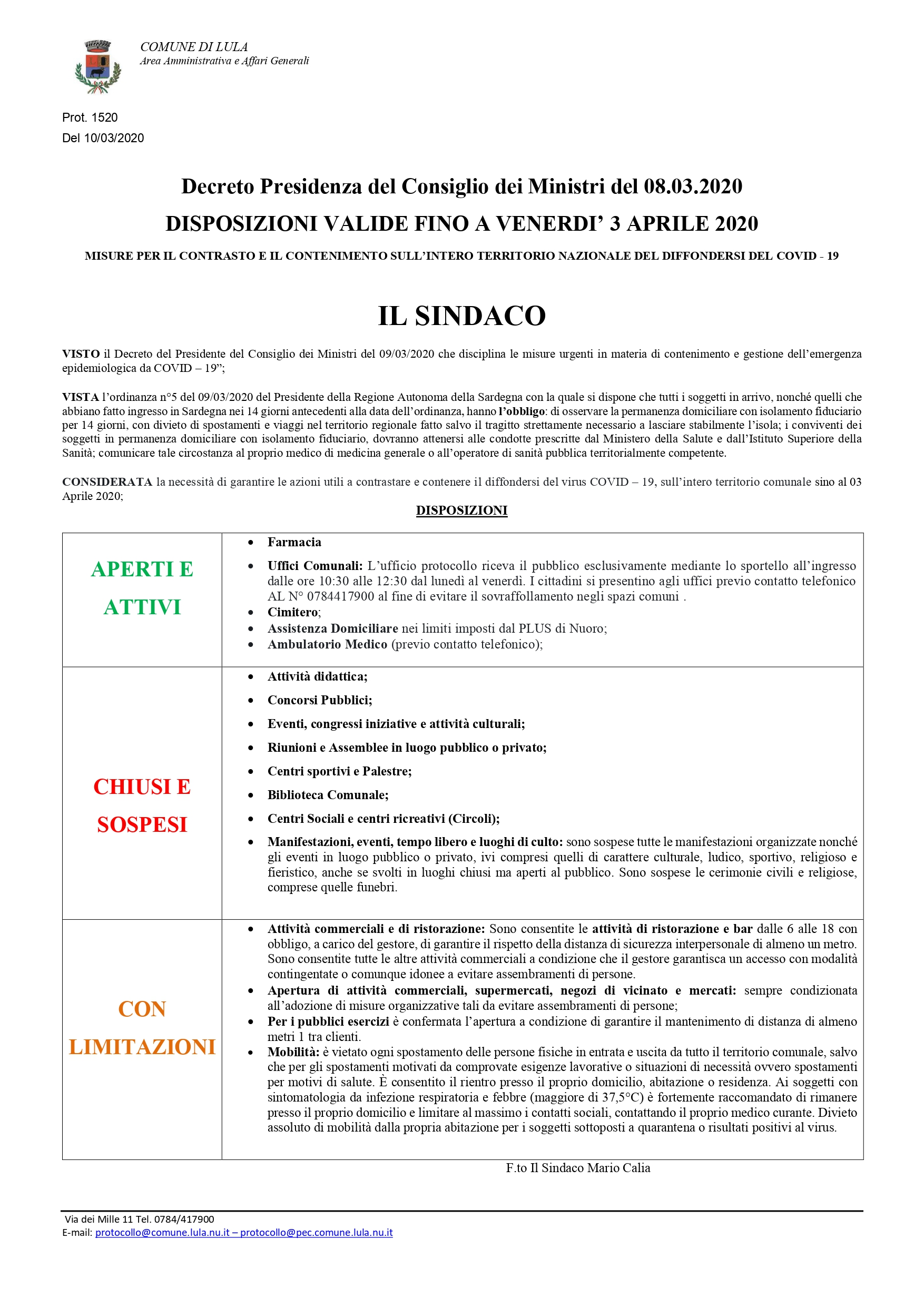 COVID-19:DISPOSIZIONI  VALIDE SINO AL 03/04/2020