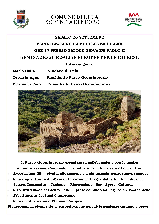 SEMINARIO SU RISORSE EUROPEE PER LE IMPRESE - 26 settembre 2020