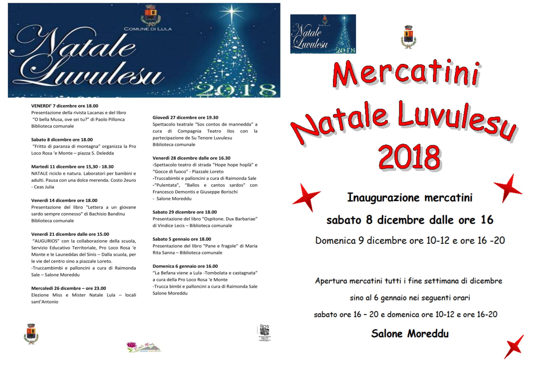 NATALE LUVULESU 2018 : Programma eventi