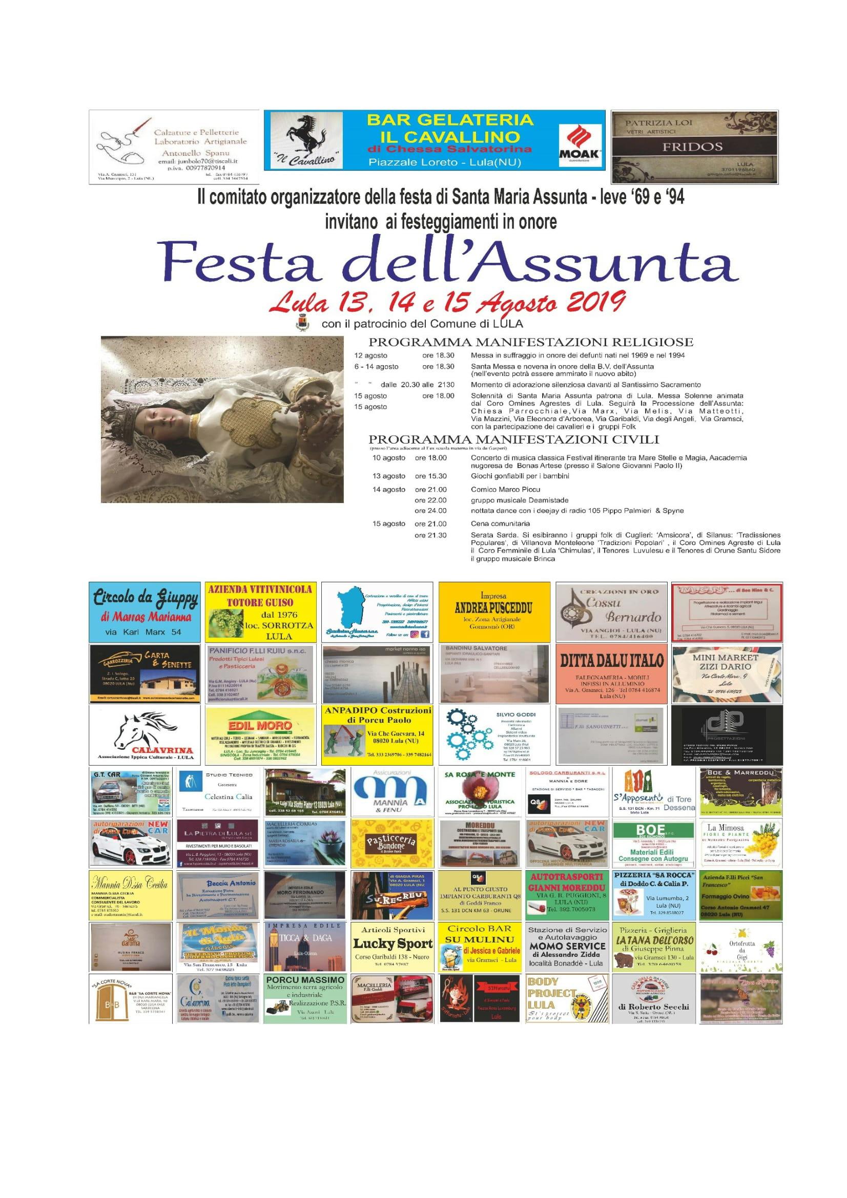 Festa dell'Assunta - Programma delle manifestazioni