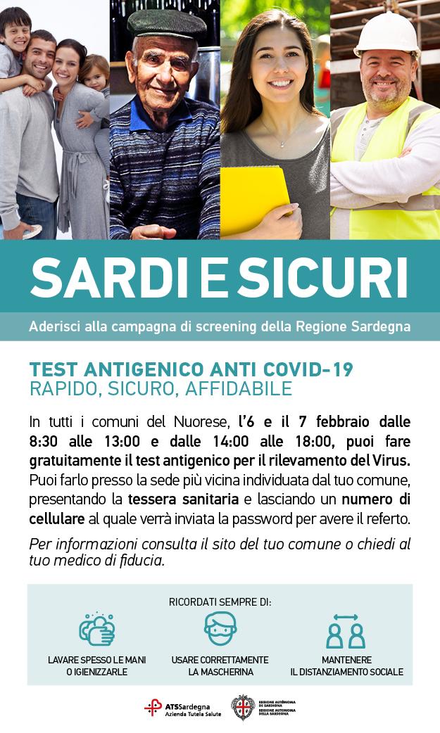 CAMPAGNA DI SCREENING ANTI-COVID-19 'SARDI E SICURI'