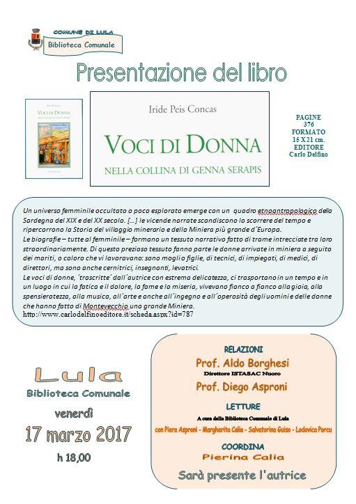 Presentazione del libro 'Voci di donna nella collina di Genna Serapis' di Iride Peis Concas
