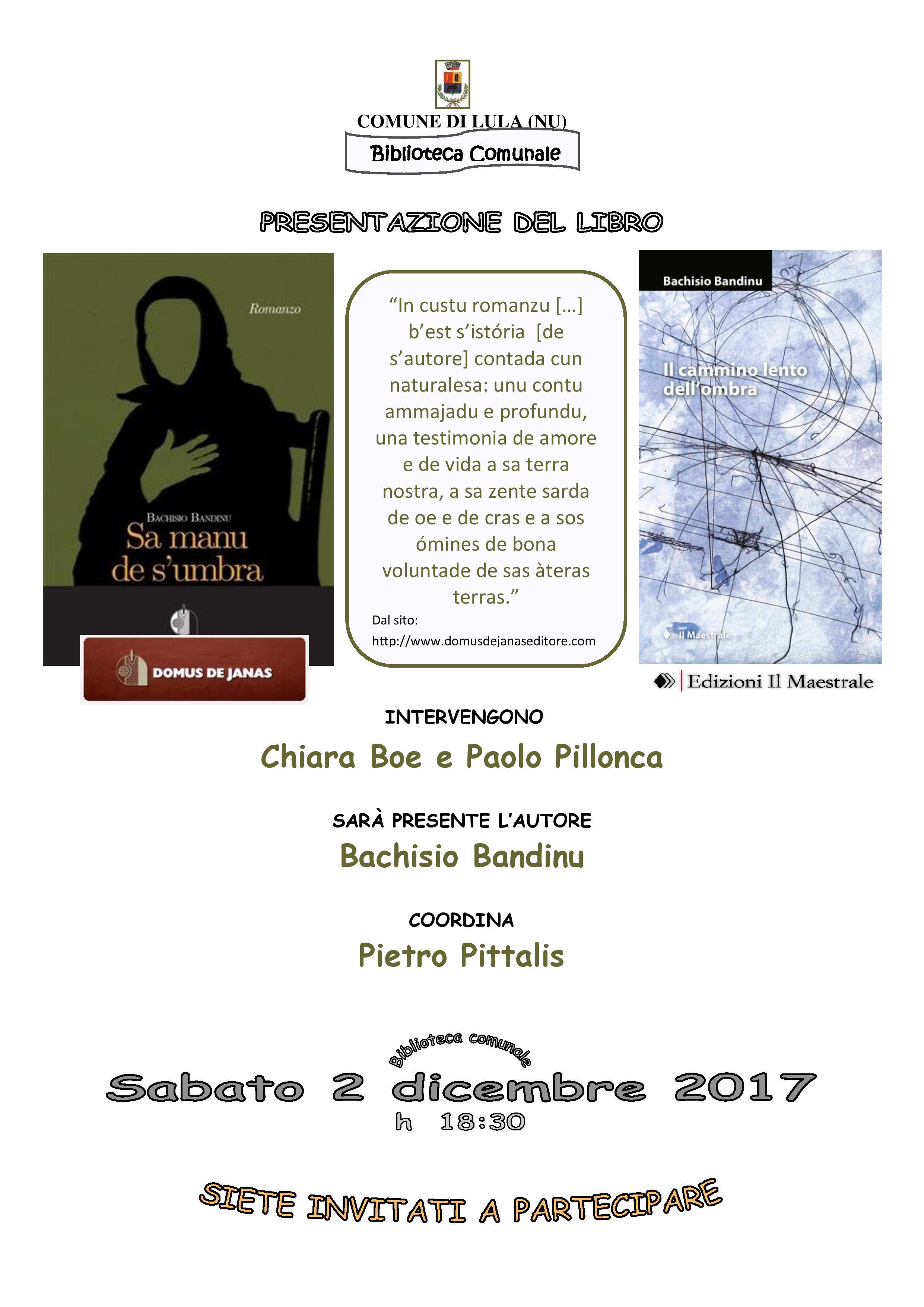 Presentazione del libro 'Sa manu de s'umbra' / 'Il cammino lento dell'ombra' di Bachisio Bandinu