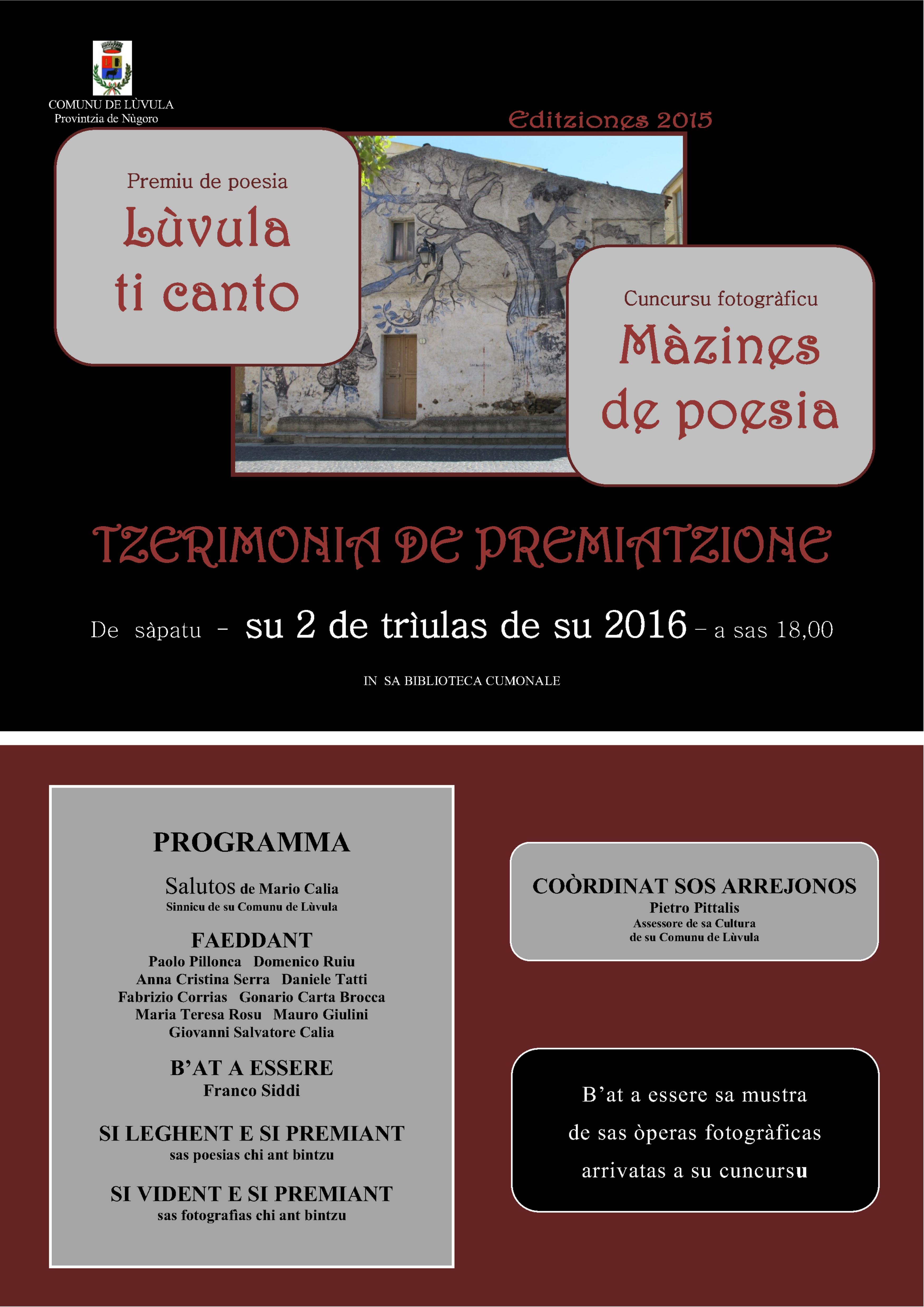 Cerimonia de premiatzione vinchitores 'Lùvula ti canto' e 'Mazines de poesia'